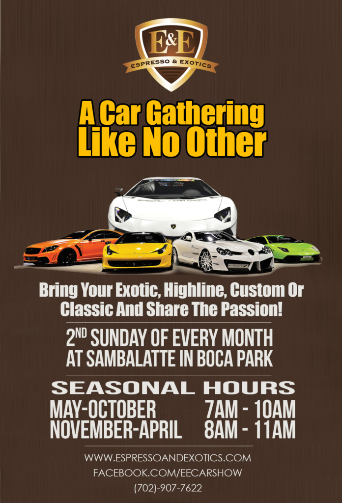 Exotic Car Gatherings in Las Vegas, Second Sunday of Every Month! Espresso & Exotics