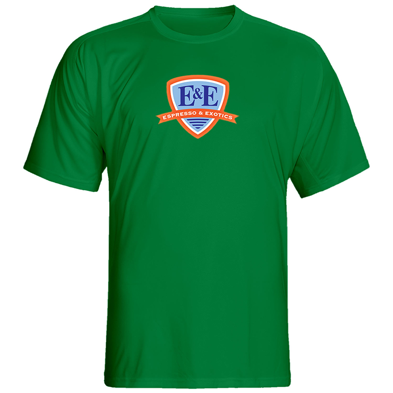 Kelly Green T-Shirt with Blue Logo by Espresso & Exotics